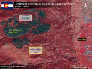 Fire Damage Infrared Satellite Image