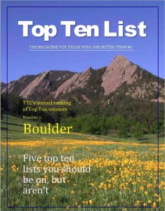 Boulder Rated #1 by Top Ten List Magazine