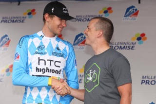 "Bill Rigler, right, gives the ""Best Young Rider"" jersey to Tejay van Garderen in the inaugural USA Pro Challenge in 2011. That year, Millennium Promise, a nonprofit Rigler worked for, was the official charity of the race."