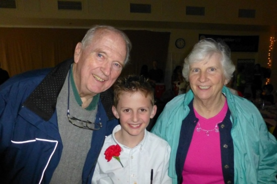 Candidate Don Cote is pictured here with his grandson, Nick, and his wife Sara, after a spaghetti dinner at his grandson's school. Cote has four grandchildren, with whom he enjoys spending time. (Photo courtesy Don Cote)