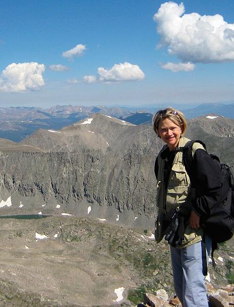 Council candidate is pictured on top of Quandary Peak, her first Fourteener (photo courtesy Jan Burton)