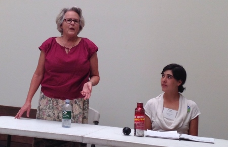 Candidate Julianne McCabe (left) at a recent candidate forum.