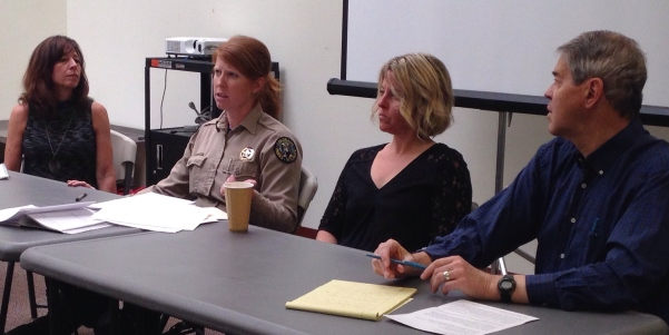 Panelists (l-r): Brenda Lee of the Boulder Bear Coalition, Kristin Cannon of the CPW, Valerie Matheson of the city, and author Alan Boles