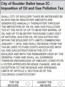 City of Boulder Ballot Issue 2C: Oil and Gas Pollution Tax