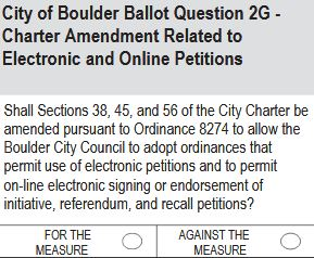 City of Boulder Ballot Question 2G: Electronic and Online Petitions
