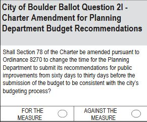 City of Boulder Ballot Question 2I: Planning Department Budget Recommendation