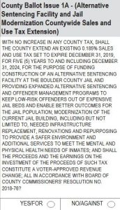 Boulder County Issue 1A: Alternative Sentencing Facility