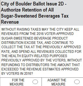 City of Boulder Ballot Issue 2D: Sugar-Sweetened Beverage Tax Revenue