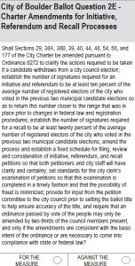 City of Boulder Ballot Question 2E: Initiative, Referendum, and Recall Process