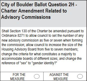 City of Boulder Ballot Question 2H: Advisory Commissions
